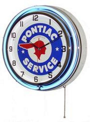 Pontiac Service Double Neon Wall Clock