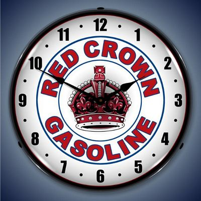 Red Crown Gasoline Lighted Wall Clock