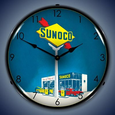 Sunoco Gas Lighted Wall Clock