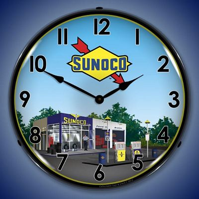 Sunoco Gas Station Lighted Wall Clock