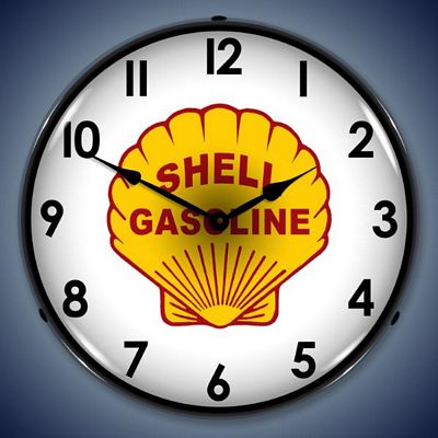 Shell Gasoline Lighted Wall Clock