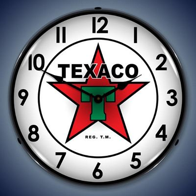 Texaco With Numbers On Face Lighted Wall Clock