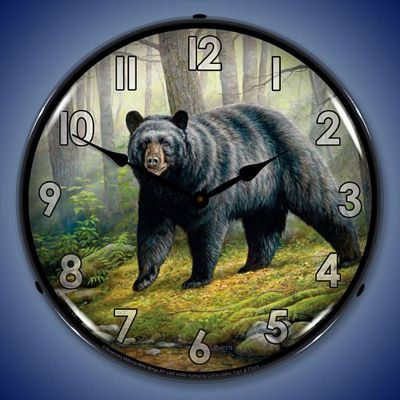Woodland Morning Bear By Rosemary Milette Lighted Wall Clock