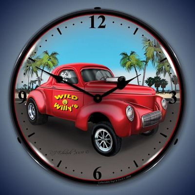 1940 Willys Gasser Lighted Wall Clock