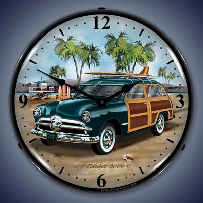 1950's Woody Surfer Wagon Lighted Wall Clock