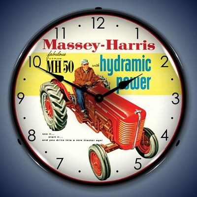 Massey Harris Tractors Lighted Wall Clock