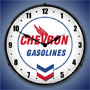 Chevron Gasoline Lighted Wall Clock
