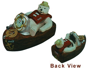 Coca-Cola Polar Bear Gone Fishin' Clock