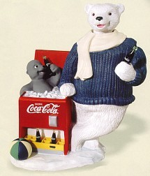 Coca-Cola Polar Bear And Seal On Cooler Keywind Animation Musical Figurine