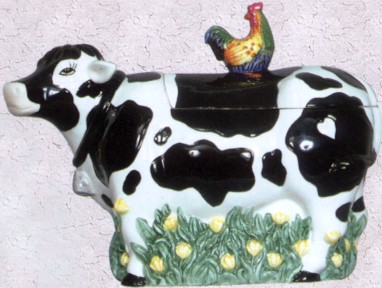 Cow With Rooster Cookie Jar
