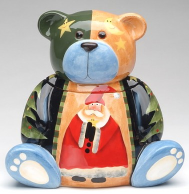 Beary Merry Christmas Santa Cookie Jar