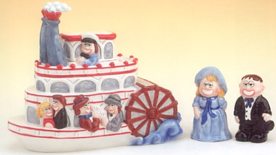 Steam Boat Cookie Jar With Salt And Pepper Shakers