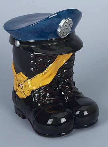 Policeman Boots And Hat Cookie Jar