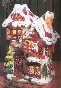 Cobblestone Village Santa's Workshop Cookie Jar