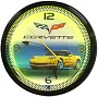 Corvette C6 Yellow Neon Wall Clock