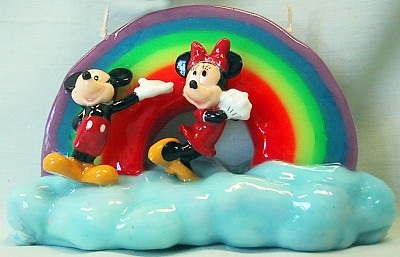 Mickey And Minnie Mouse Rainbow On A Cloud Candle