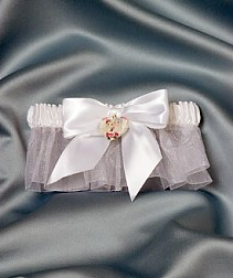 Dreamsicles Wedding Bridal Garter With Heart Charm - White