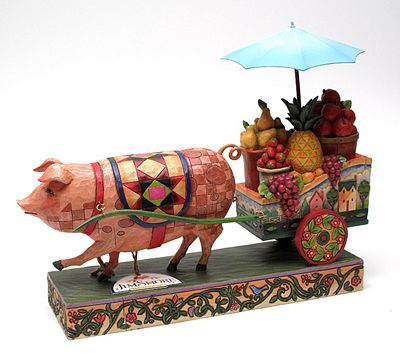 Jim Shore Heartwood Creek Pig Pulling Fruit Cart Figurine
