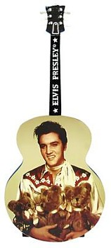 Elvis Presley Teddy Bear Musical Guitar Shaped Figurine