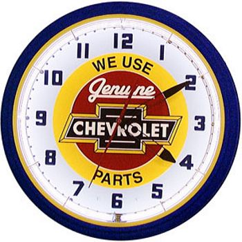 Chevy Red Center Neon Wall Clock
