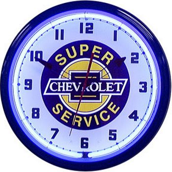Chevy Super Service Neon Wall Clock