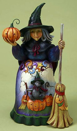 Jim Shore Heartwood Creek Witch With Cat and Pumpkin Scene Figurine