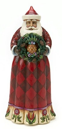 Jim Shore Heartwood Creek Santa Claus With Pineapple Wreath Figurine