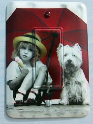 Kim Anderson Girl With Dog Light Switch