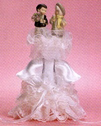 Kim Anderson Satin Bells With Lace And Bow Wedding Cake Topper
