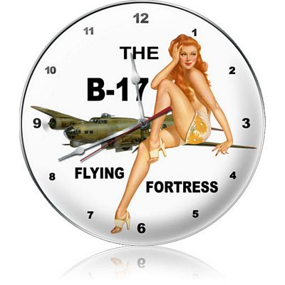 B-17 Flying Fortress Redhead Aircraft Metal Wall Clock
