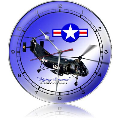 Flying Banana Piasecki CH-21 Helicopter Metal Wall Clock