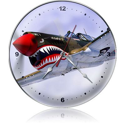 Shark Teeth Nose Art Aircraft Metal Wall Clock