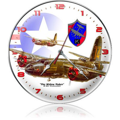 B-26 Marauder Widow Maker Aircraft Metal Wall Clock