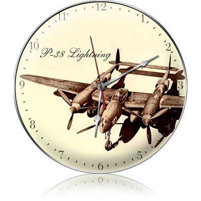 P-38 Lightning Drawing Aircraft Metal Wall Clock