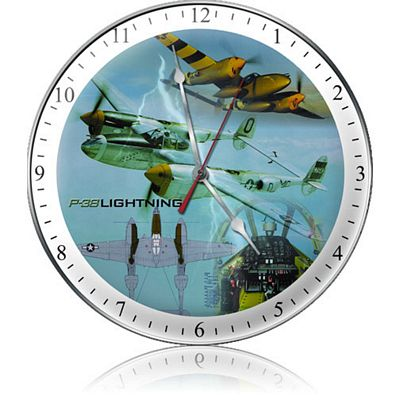 P-38 Lightning Triplane Aircraft Metal Wall Clock