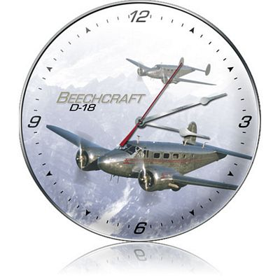 D-18 Beachcraft Aircraft Metal Wall Clock