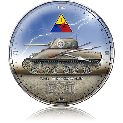 M4 Sherman Tank Metal Wall Clock
