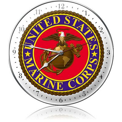 United States Marine Corps Metal Wall Clock