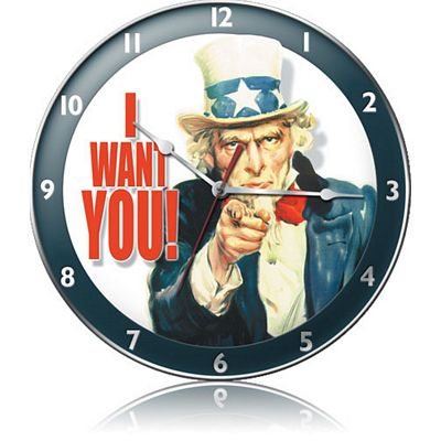 Uncle Sam I Want You Metal Wall Clock