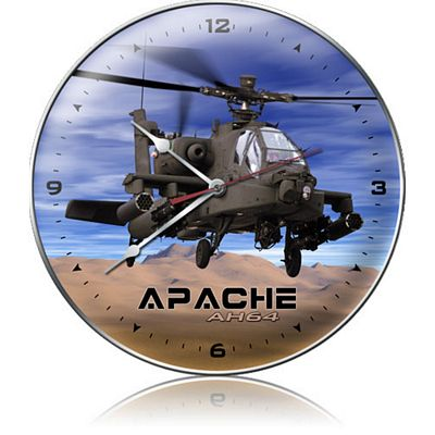 AH-64 Apache Helicopter Metal Wall Clock