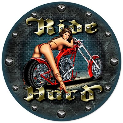Ride Hard Metal Wall Clock
