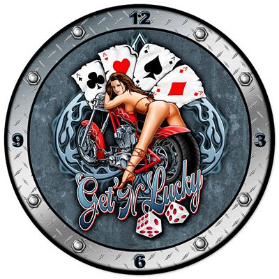 Get'N Lucky Metal Wall Clock