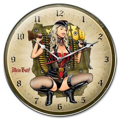 Gunner Girl Metal Wall Clock