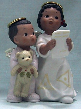 Girl And Boy Angel Singing African American Figurine