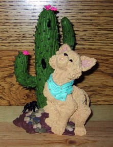 Coyote And Cactus Figurine