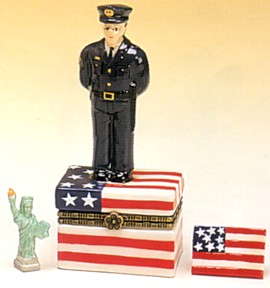 Nypd Policeman On American Flag Porcelain Hinged Box