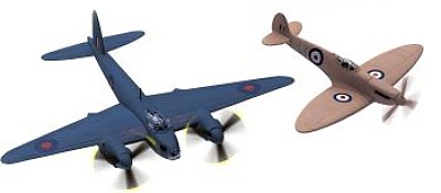 DH Mosquito/Spitfire Set Limited Edition Die-Cast Scale Model Aircraft By Corgi