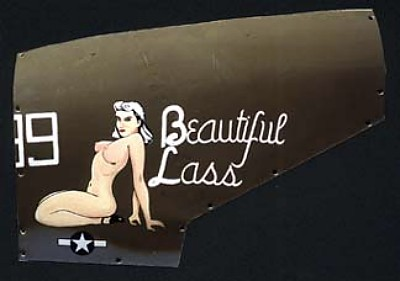 P-38 Beautiful Lass Aluminum Aircraft Nose Art Panel