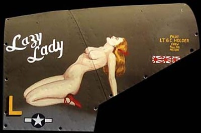 P-38 Lazy Lady Aluminum Aircraft Nose Art Panel