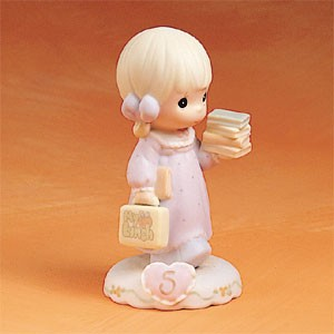 Precious Moments Age 5 Blonde Girl Figurine
